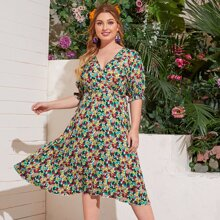 Plus Floral Print Surplice Front Dress
