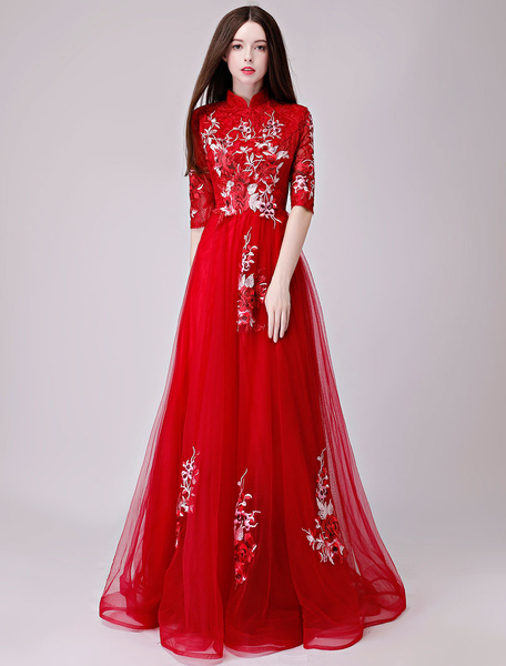 Milanoo Evening Dresses Lace Applique Half Sleeve Stand Collar Formal Gowns