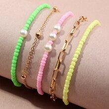 5pcs Girls Bead & Chain Bracelet