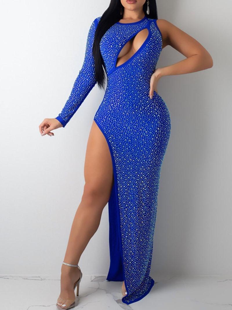 Ericdress Floor-Length Diamond Round Neck Plain Regular Women's Dress