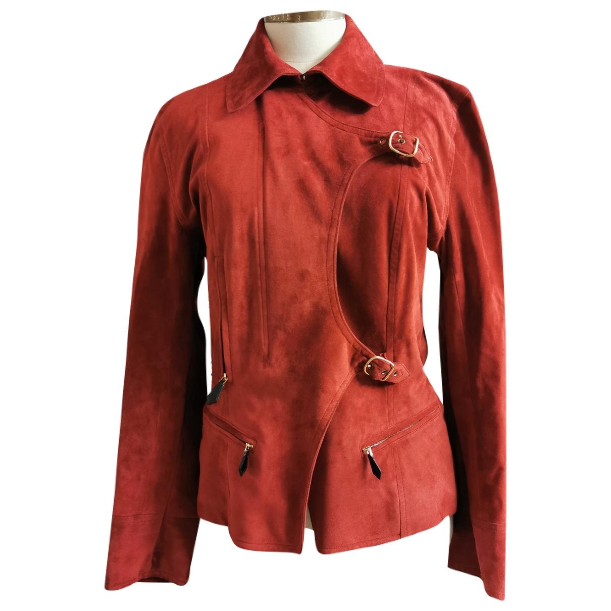 Hermès \N Red Suede Leather jacket for Women 40 FR