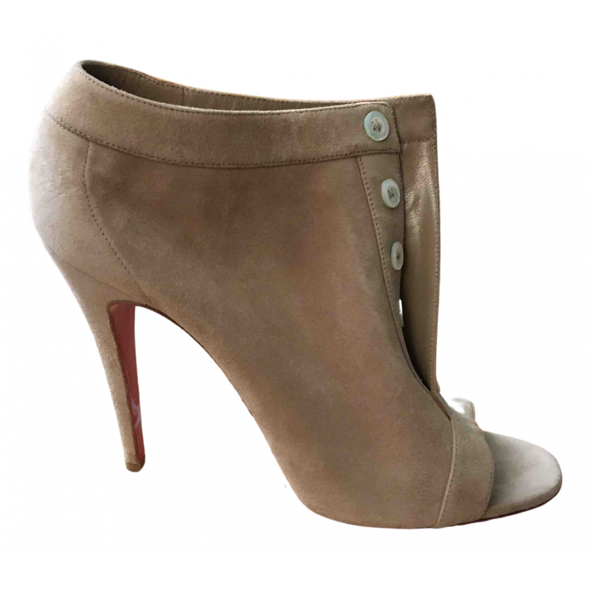 Christian Louboutin \N Beige Suede Ankle boots for Women 40 EU