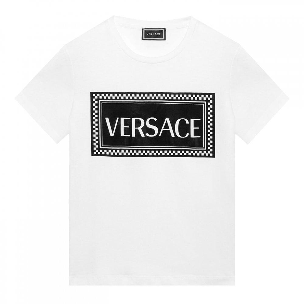 Versace Black White Cotton T-shirt Colour: WHITE, Size: 8 YEARS