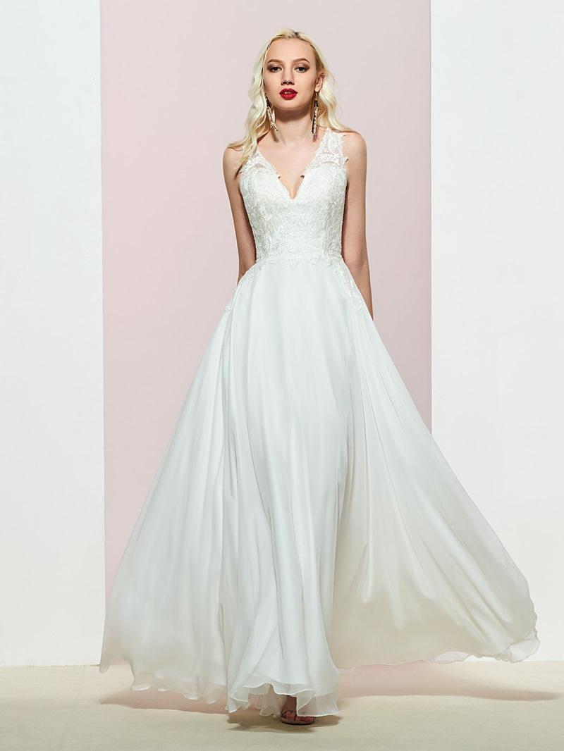 Ericdress A-Line Sleeveless V-Neck Appliques Prom Dress