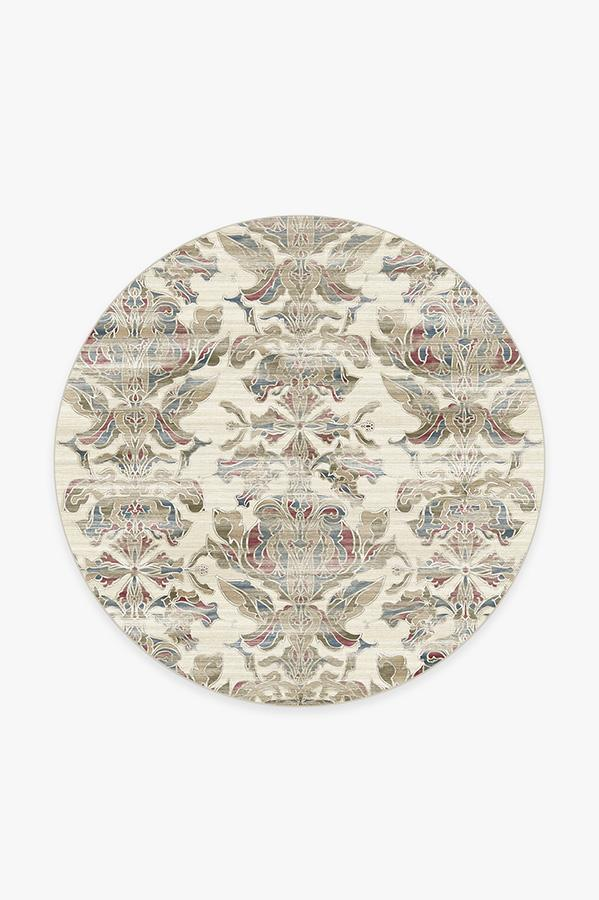 Washable Rug Cover   Transitional Damask Natural Rug   Stain-Resistant   Ruggable   6' Round