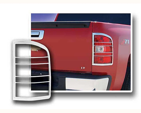 Quality Automotive Accessories ABS Plastic with Chrome Overlay 2-Piece Tail Light Bezel Chevrolet Silverado 2500 2011
