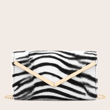 Tasche mit Metall Saum und Zebra Streifen Muster