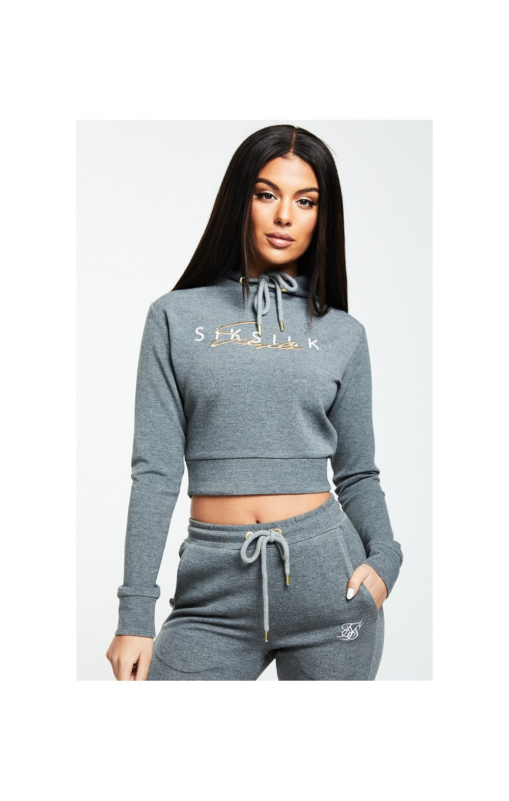 SikSilk Colour Signature Track Top - Dark Grey Marl  WOMEN SIZES: 6-XXS