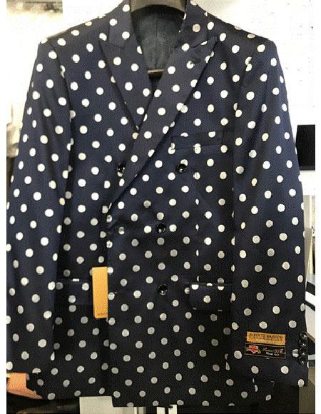 Navy Blue or Black & White Polk Dot Blazer Sport Jacket Coat