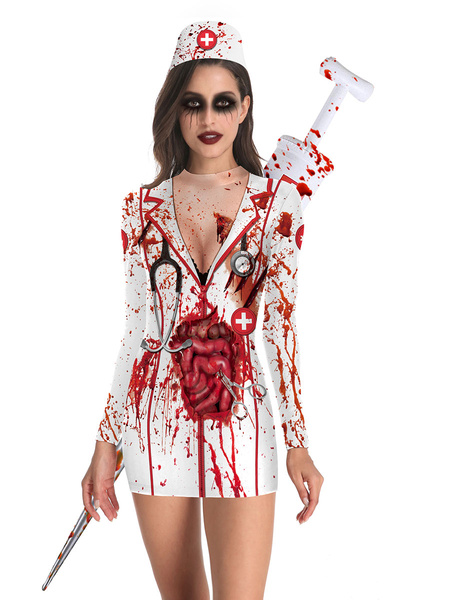 Milanoo Halloween Costumes White Adult\\'s 3D Print Scary Polyester Halloween Bodycon Holidays Costumes