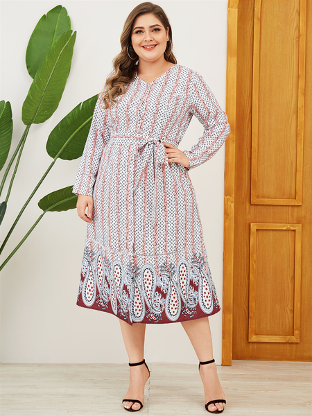 YOINS Plus Size Pink Belt Design Paisley V-neck Long Sleeves Dress