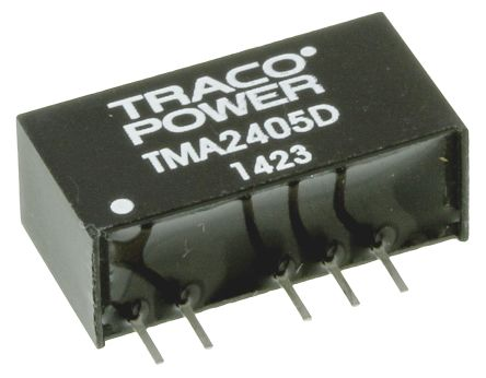 TRACOPOWER TMA 1W Isolated DC-DC Converter Through Hole, Voltage in 21.6 → 26.4 V dc, Voltage out ±5V dc