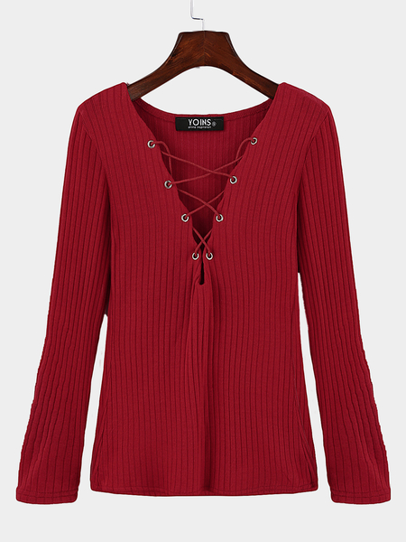 Yoins Red Plunge Lace-up Knit Sweater with Long Sleeves