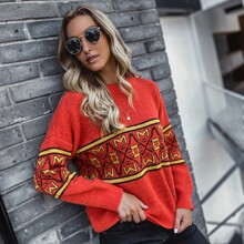 Argyle And Letter Pattern Sweater