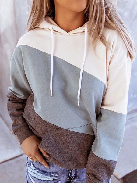 Milanoo Women Hoodie Light Brown Drawstring Long Sleeve Printed Cotton Hooded Sweatshirt