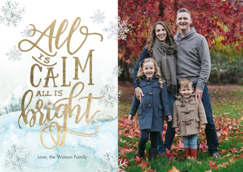 Christmas Photo Cards Flat Glossy Photo Paper Cards with Envelopes, 5x7, Card & Stationery -Christmas Gold Calm Bright by Tumbalina