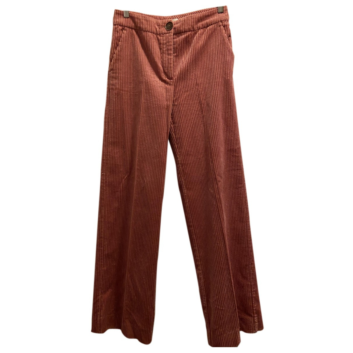 Mango N Pink Cotton Trousers for Women 38 FR