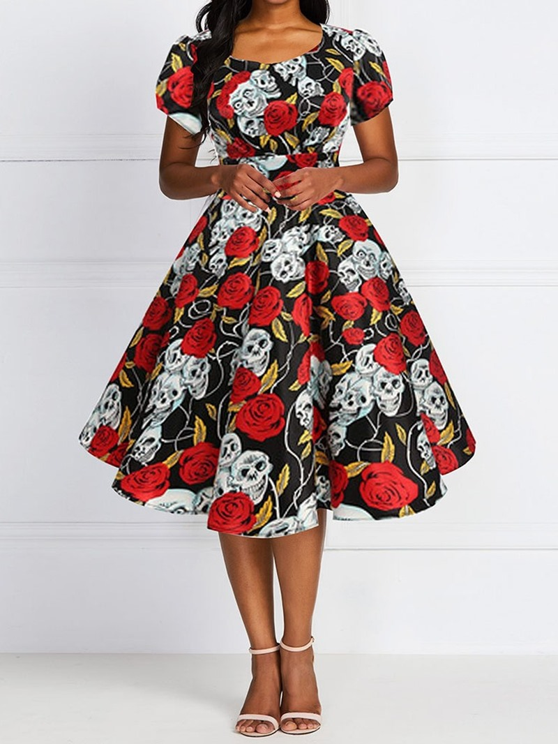 Ericdress Halloween Costume Short Sleeve Round Neck Print High Waist Expansion Dress(Without Crinoline)