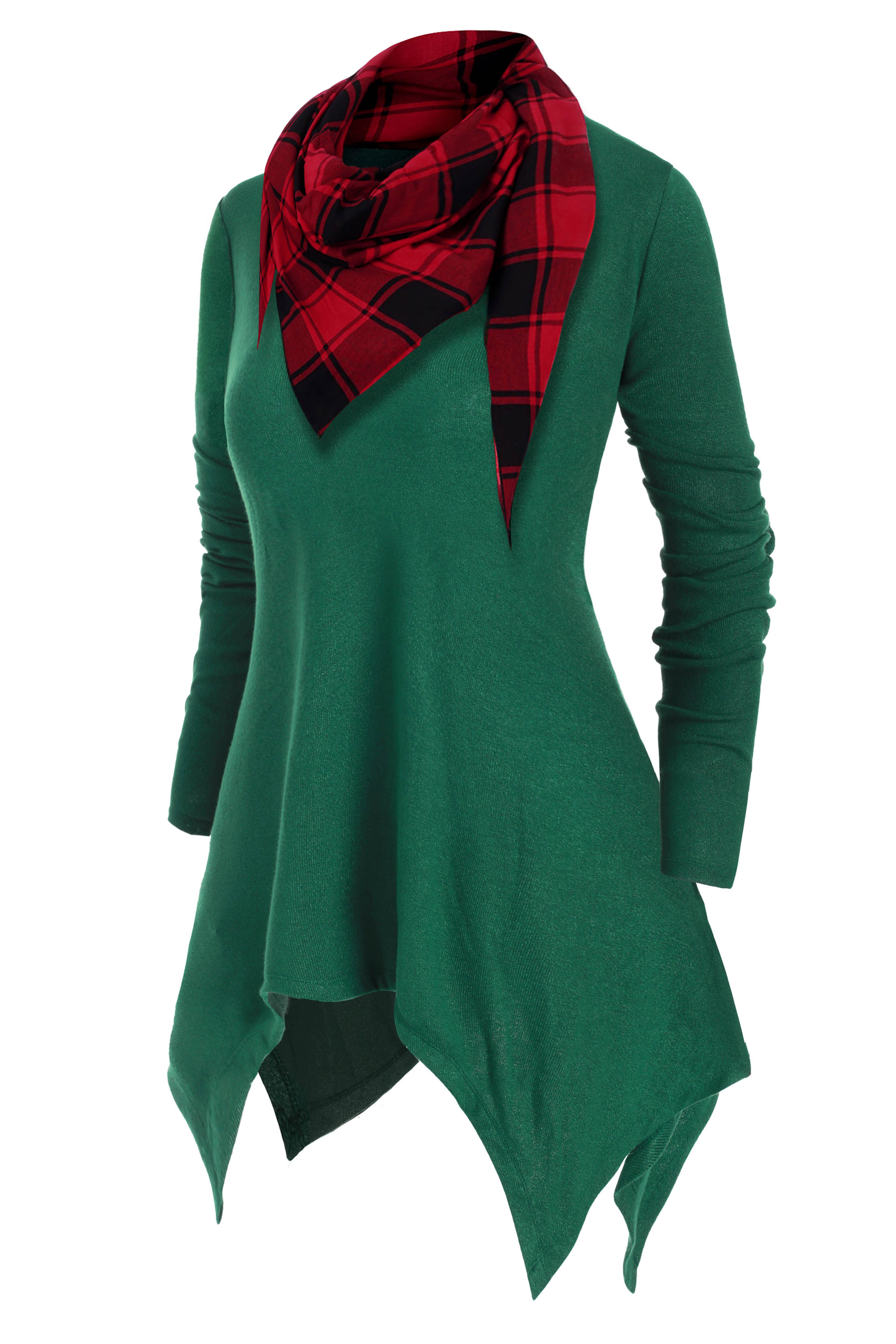 Handkerchief V Neck Plus Size Knitwear With Plaid Scarf