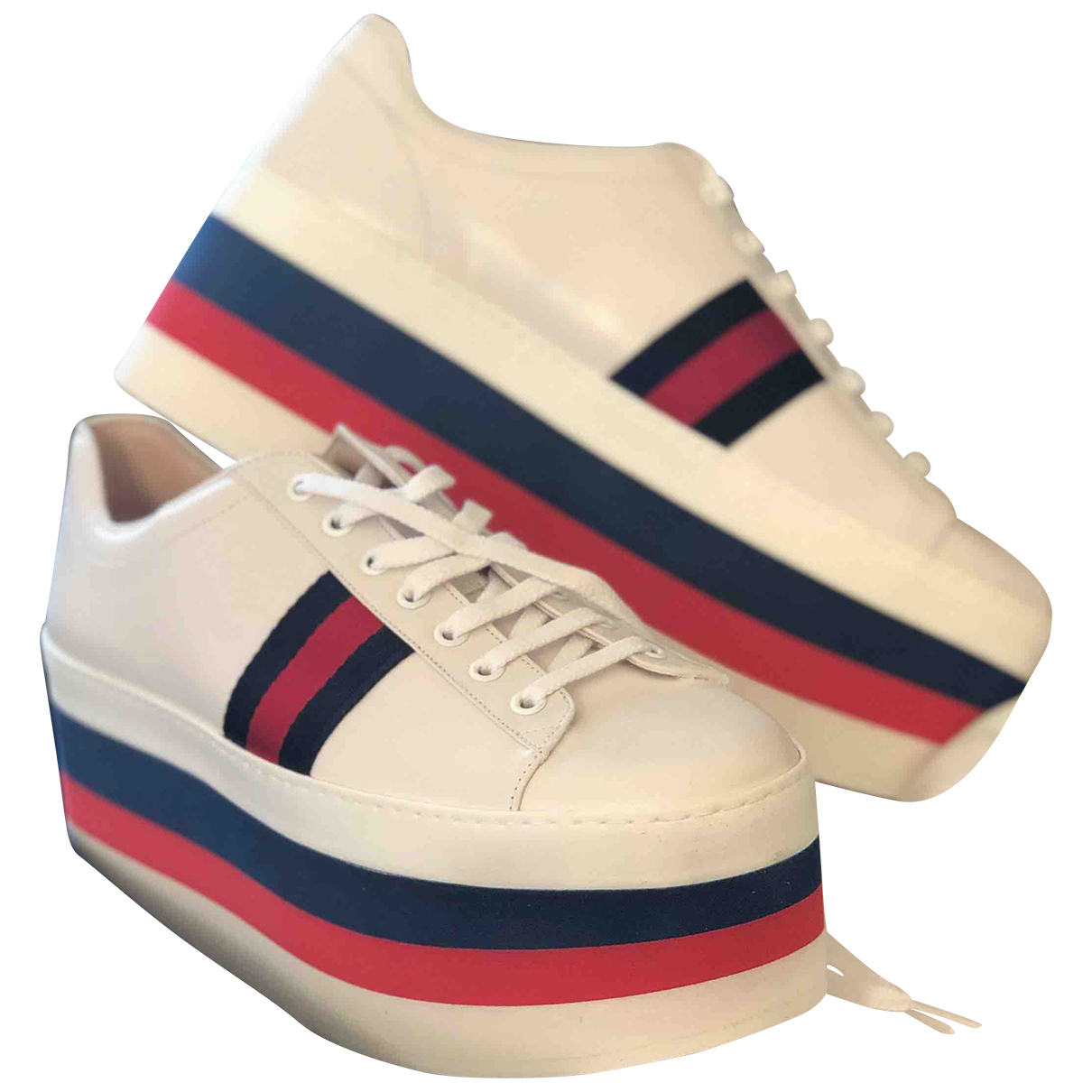 Gucci Peggy Sneakers in  Weiss Leder