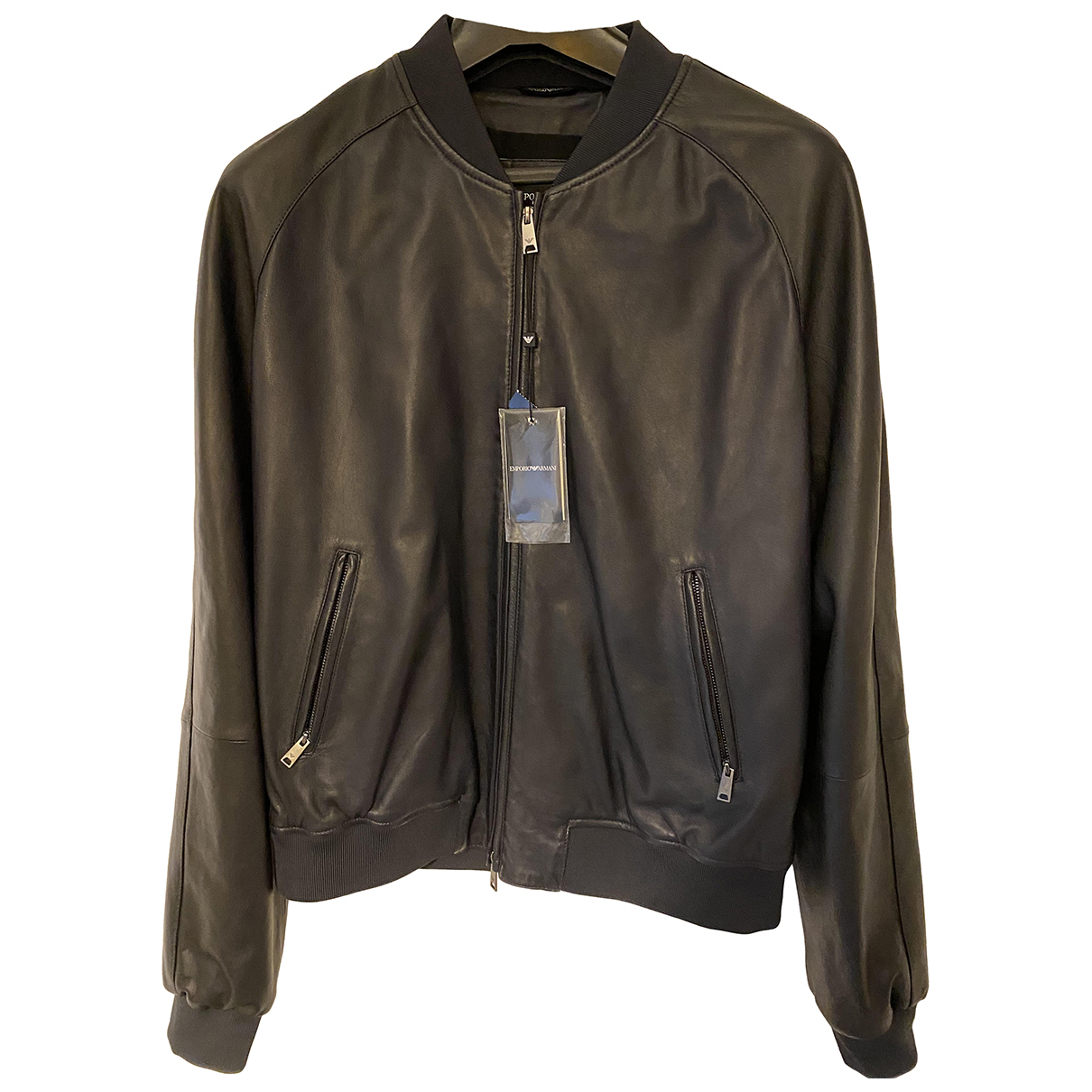 Emporio Armani N Blue Leather jacket  for Men 52 IT