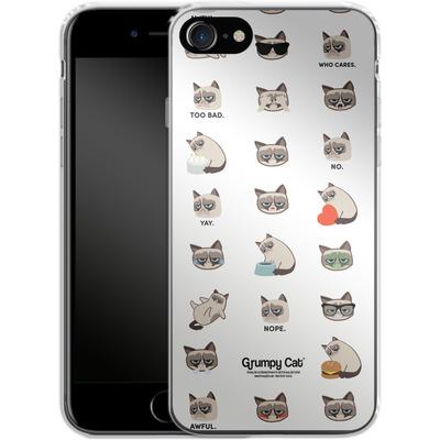 Apple iPhone 8 Silikon Handyhuelle - Grumpy Cat Pattern von Grumpy Cat