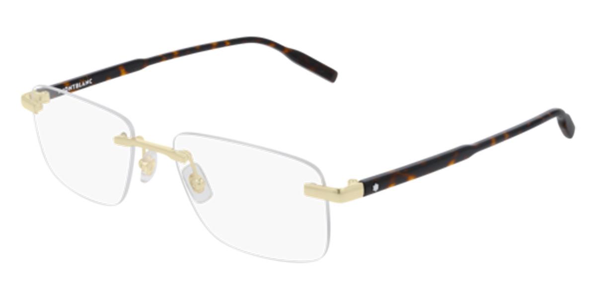 Mont Blanc MB0088O 003 Men's Glasses Gold Size 56 - Free Lenses - HSA/FSA Insurance - Blue Light Block Available