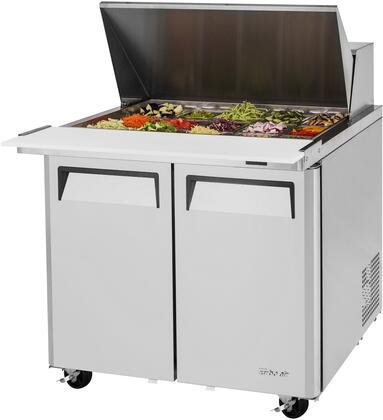 MST-36-15-N6 37 M3 Series Mega Top Sandwich/Salad Prep Table with 11 cu. ft. Capacity  15 Pans  Self-Cleaning Condenser and Cold Bunker System in