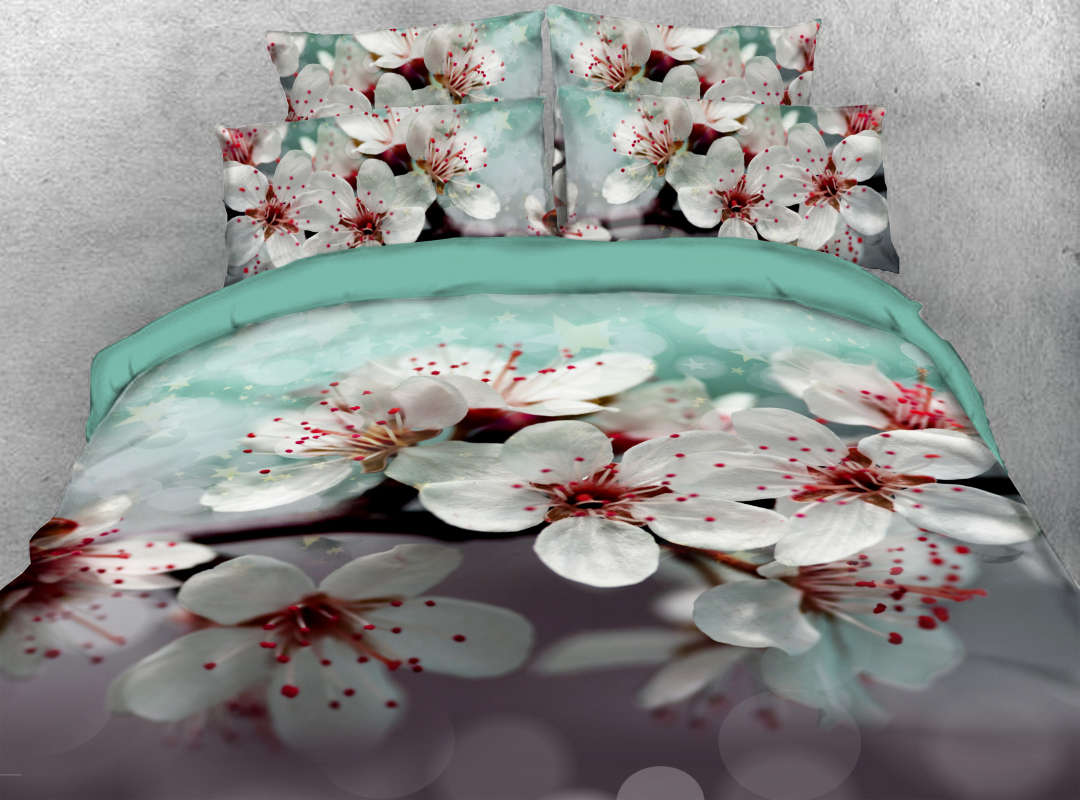 Peach Blossom Zipper Colorfast Hard-wearing Duvet Cover 4-Piece Soft Spring Floral Bedding Sets with Corner Ties