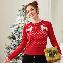Chevron Pattern Puff Sleeve Sweater
