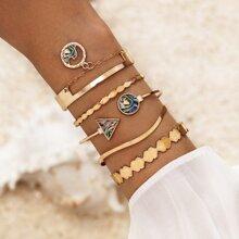 5 Stuecke Armband mit Geo Dekor
