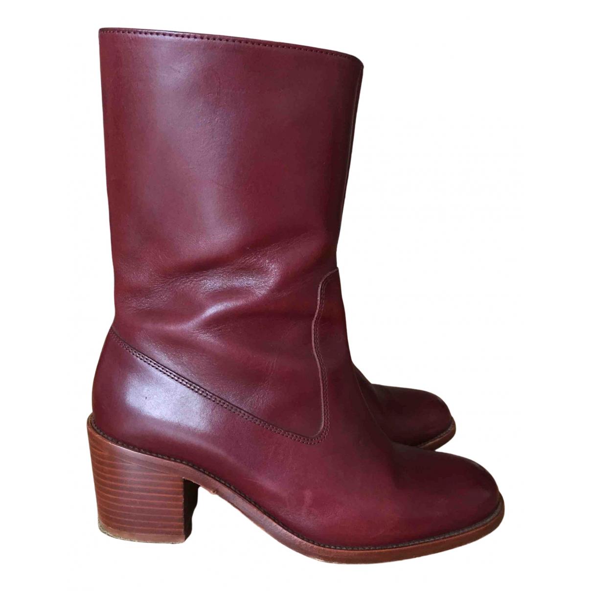 Apc - Boots   pour femme en cuir - bordeaux
