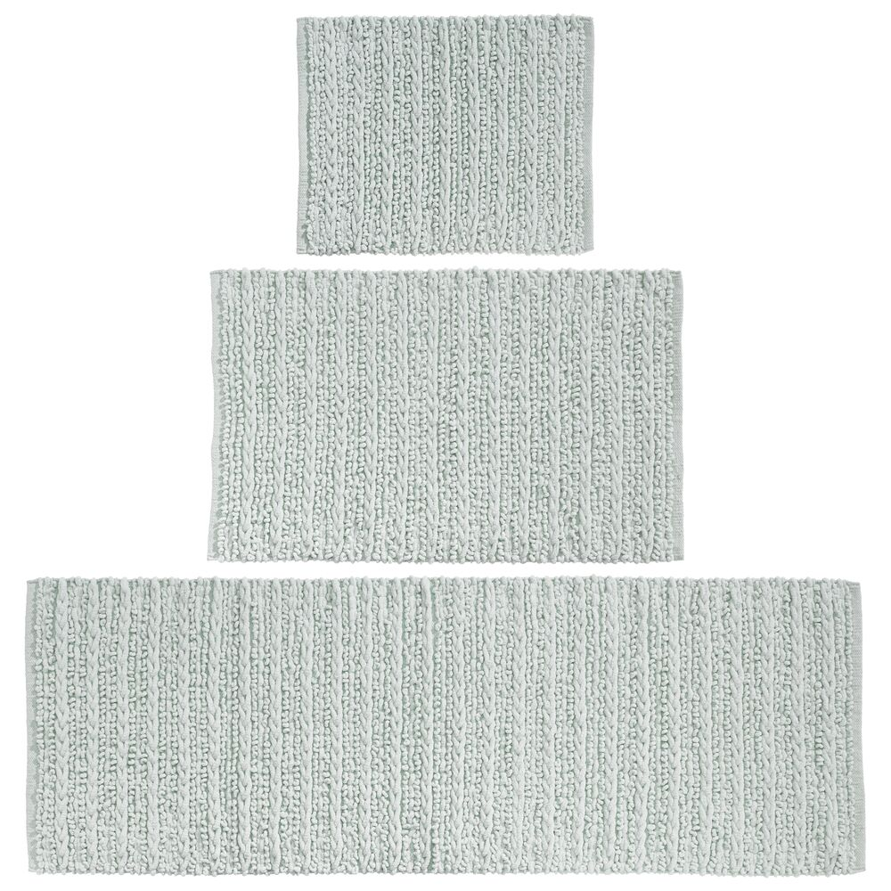 Cotton Spa Bath Mats with Braided Design - Set of in Light Blue, 17