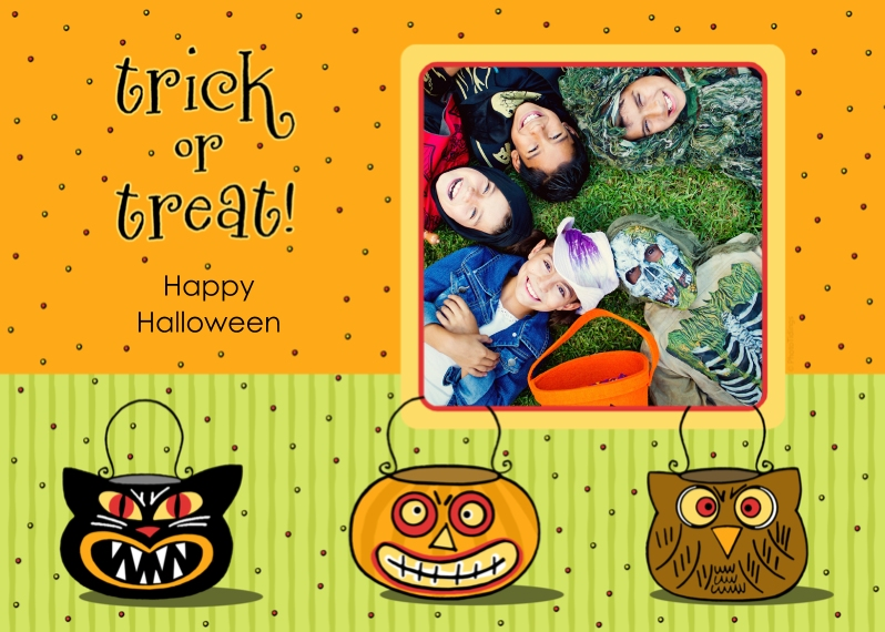 Halloween Photo Cards 5x7 Folded Cards, Standard Cardstock 85lb, Card & Stationery -trick or treat!