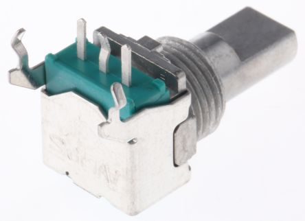 Alps Alpine 1 Gang Rotary Potentiometer with an 6 mm Dia. Shaft - 20kΩ, ±20%, 0.05W Power Rating, Linear, Through Hole