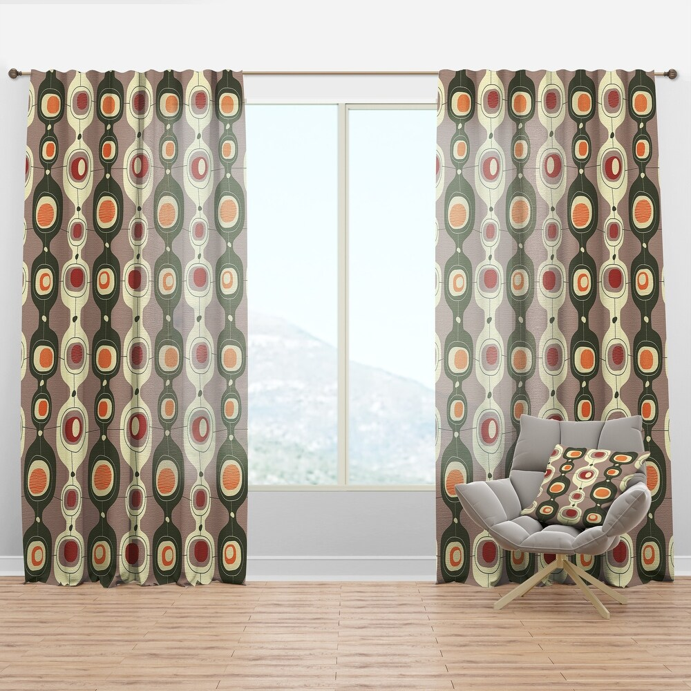 Designart 'Retro Abstract Design X' Mid-Century Modern Curtain Panel (50 in. wide x 108 in. high - 1 Panel)