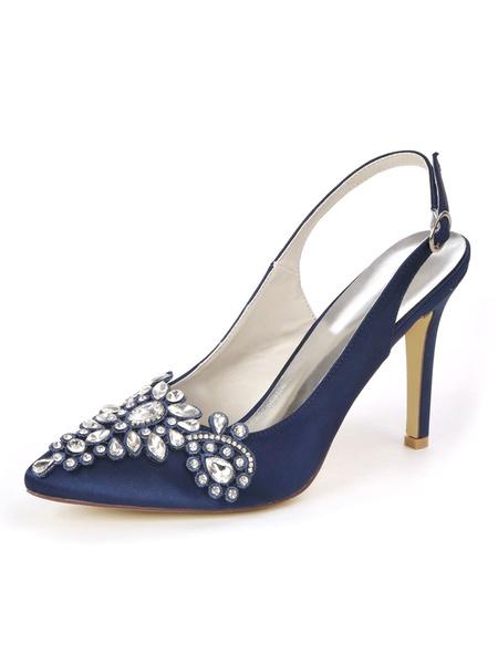 Milanoo White Wedding Shoes Satin Pointed Toe Rhinestones Stiletto Heel Bridal Shoes
