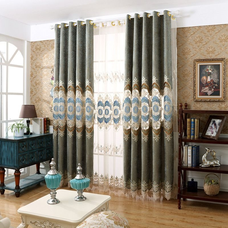 Classical Elegant Hollowed-out Embroidered Classy Thick Chenille Custom Grommet Curtains