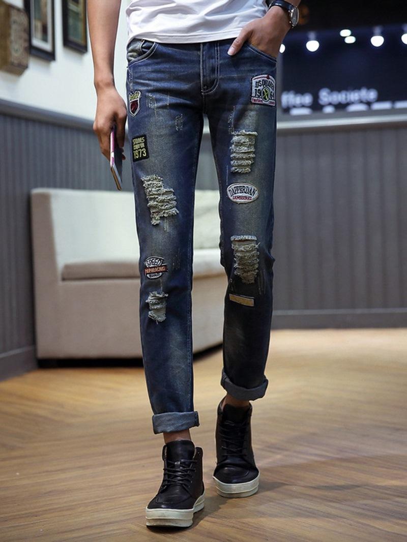 Ericdress Pencil Letter Hole Casual Mid Waist Men's Jeans