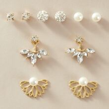 5pairs Faux Pearl & Rhinestone Decor Earrings Set