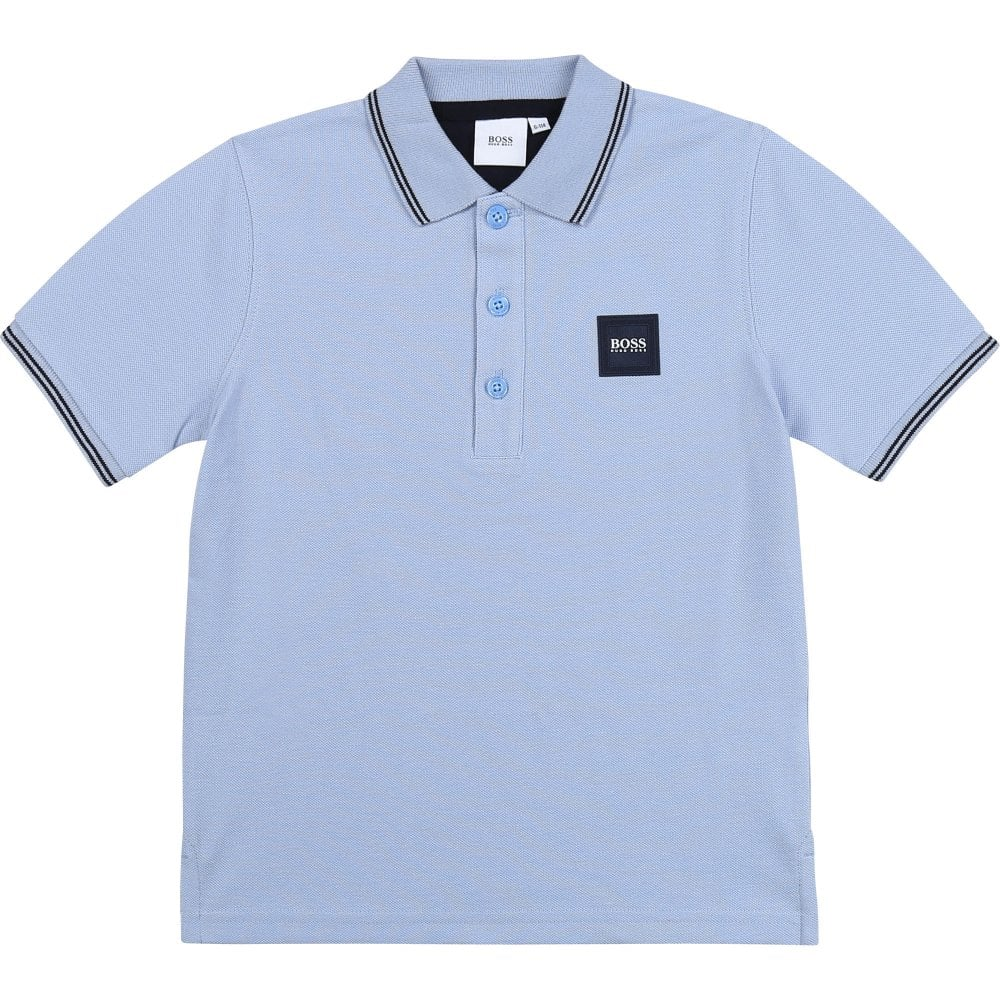Hugo Boss Pique Polo Shirt Colour: BLUE, Size: 6 YEARS