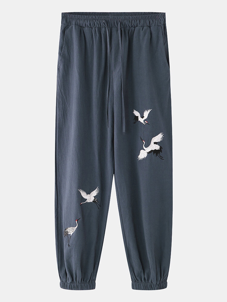 Mens Cotton Linen Breathable Oriental Red-Crowned Crane Embroidered Harem Pants