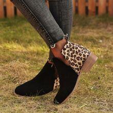 Botas con tacon block con abertura de leopardo
