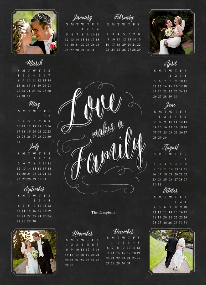 Calendar 5x7 Metal Easel Panel, Home Décor -Family Chalkboard