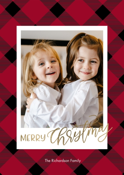 Christmas Photo Cards Mail-for-Me Premium 5x7 Flat Card, Card & Stationery -Christmas Gold Script Plaid by Tumbalina