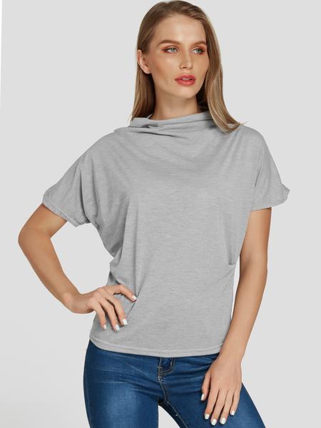 Yoins Grey Pleated Design Half-high Neck Short Sleeves Tee