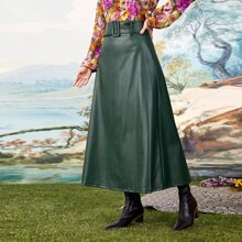 Solid PU A-line Skirt With Belt