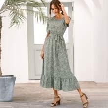 Allover Print Ruffle Hem Belted Dress