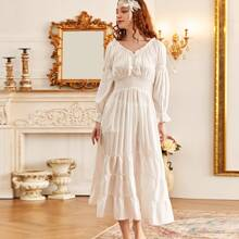 Frill Trim Ruffle Hem Shirred Waist Night Dress