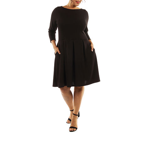 24/7 Comfort Apparel The Classic A-Line Dress-Plus, 3x , Black